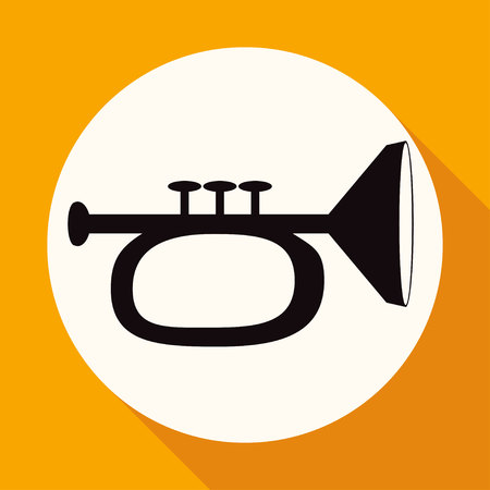 brass wind: Icon trumpet on white circle with a long shadow