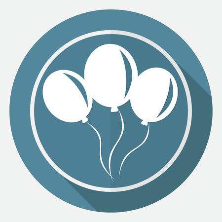 aerostatics: balloon icon on white circle with a long shadow