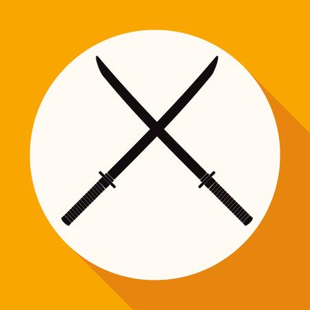 katana: Icon Katana on white circle with a long shadow