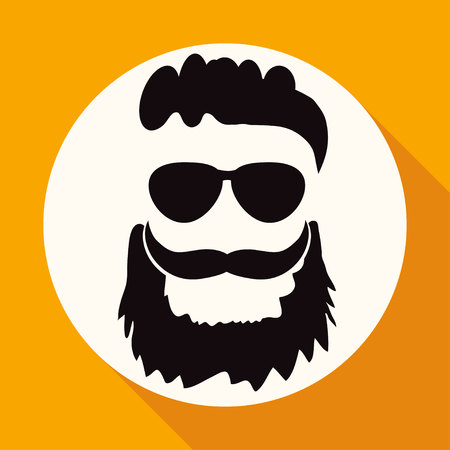 sideburn: Icon beard on white circle with a long shadow