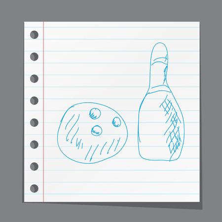 quilles: Quilles et la boule esquisse illustration vectorielle Illustration