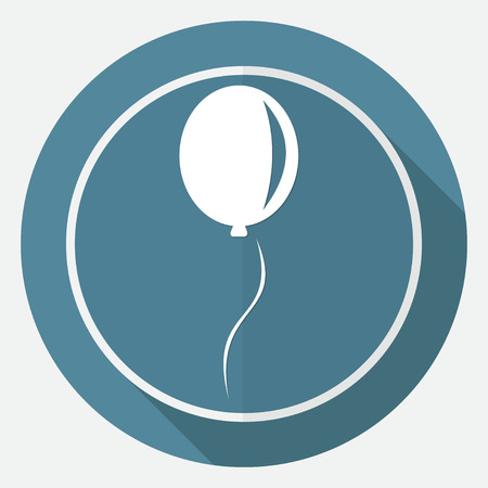 large group of objects: balloon icon on white circle with a long shadow