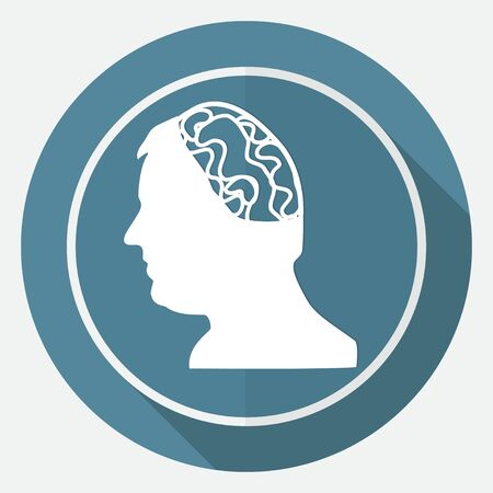 brainy: Icon Gear head on white circle with a long shadow Illustration