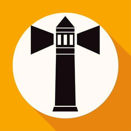 illuminative: Icon Lighthouse on white circle with a long shadow Illustration