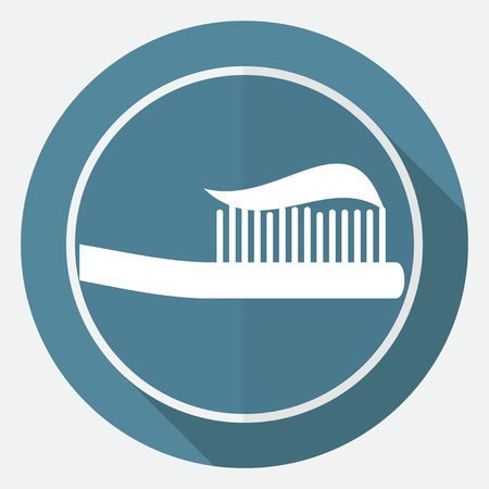 toiletry: Toothbrush icon on white circle with a long shadow Illustration