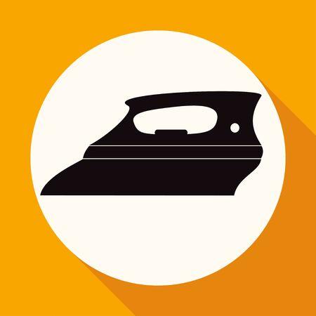 plancha de vapor: Icono de hierro de vapor en c�rculo blanco con una larga sombra