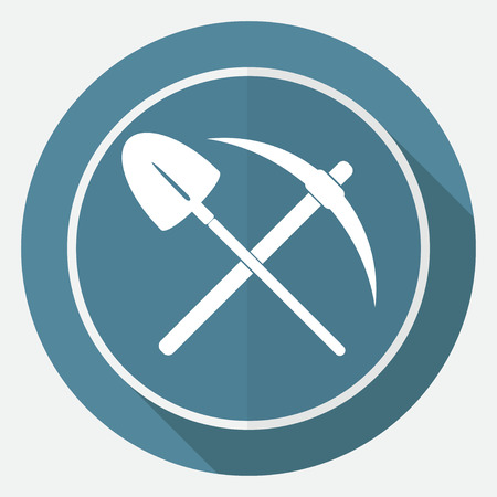 hand shovels: Icon pick and shovel on white circle with a long shadow
