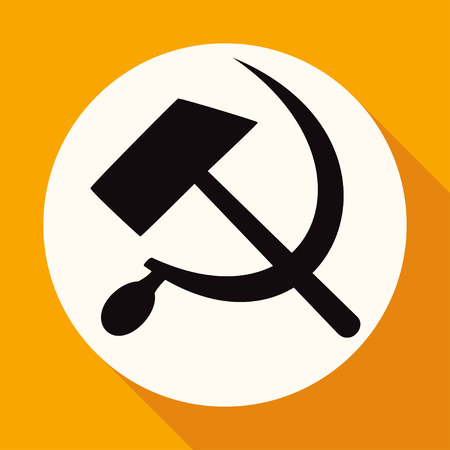 socialist: Icon sickle hammer on white circle with a long shadow