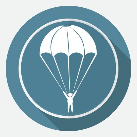 long jump: Icon Parachute on white circle with a long shadow