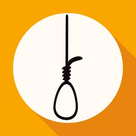 ahorcado: Icono Soga en c�rculo blanco con una larga sombra Vectores