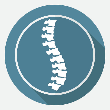 Icon Spine diagnostics on white circle with a long shadow Vettoriali