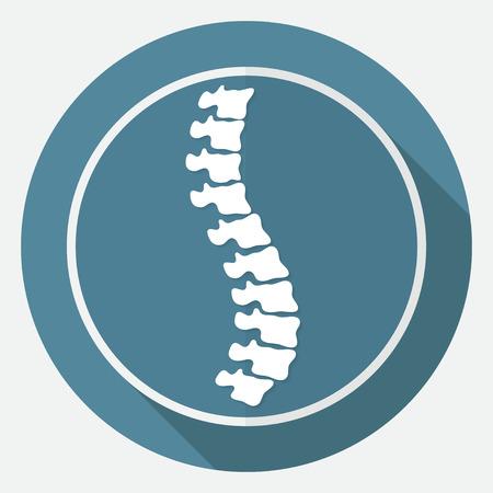Pictogram Spine diagnostiek op een witte cirkel met een lange schaduw