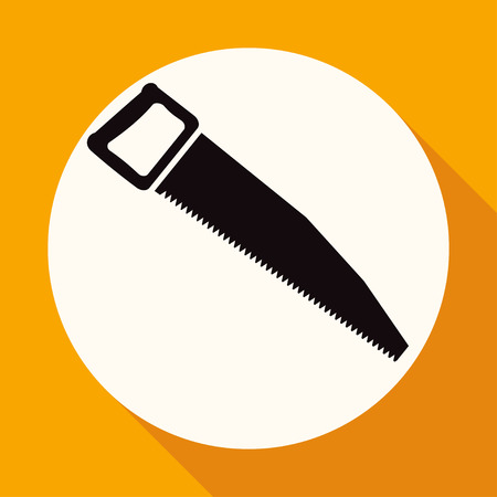 curve claw: Icon hand saw on white circle with a long shadow