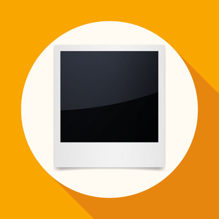 recollection: Icon Photo Frames on white circle with a long shadow