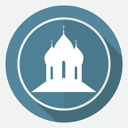 gilt: Orthodox Cathedral Church on white circle with a long shadow Illustration