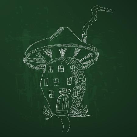 mushroom house: Cute cartoon mushroom house, sketch