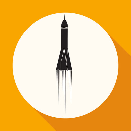 stabilizer: Icon Rocket on white circle with a long shadow Illustration