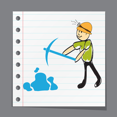 fire pit: miner with a pick goes to the mine illustration