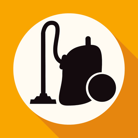 subject matter: Icon vacuum cleaner on white circle with a long shadow