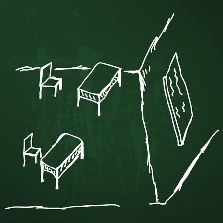 sketchy illustration: Sketchy illustration of a school desk