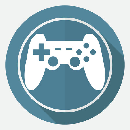 joypad: game joypad icon on white circle with a long shadow
