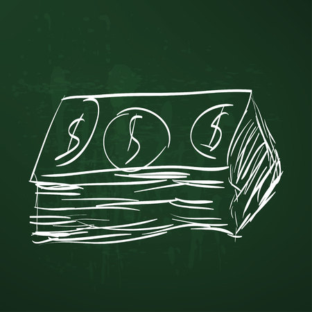 quick money: Dollar cash money icon. Hand drawing cartoon sketch