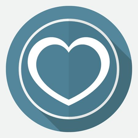 heart attack: Icon human heart on white circle with a long shadow Illustration