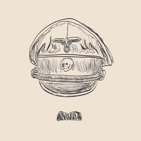 Nazi cap sketch style Illustration