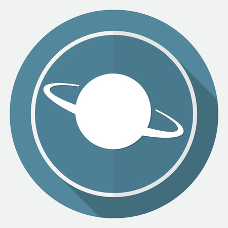 dangerously: UFO Icon on white circle with a long shadow