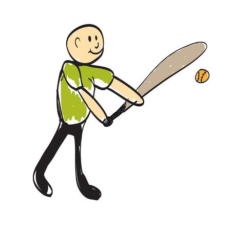 man playing baseball illustration
