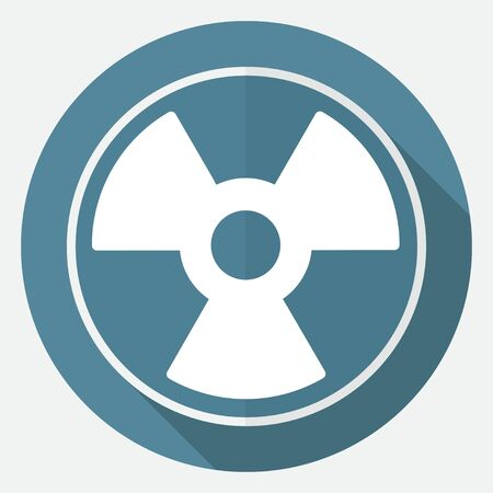 radium: radiation symbol on white circle with a long shadow