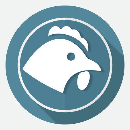 cockscomb: chicken icon on white circle with a long shadow Illustration