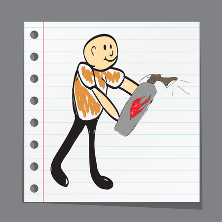 fire safety sign: firefighter extinguishes fire illustration