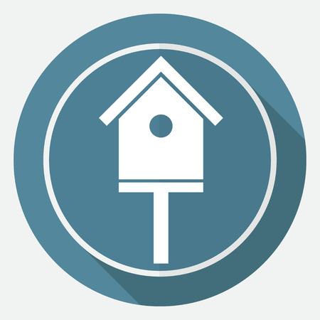 nestling birds: Icon bird-house on white circle with a long shadow Illustration