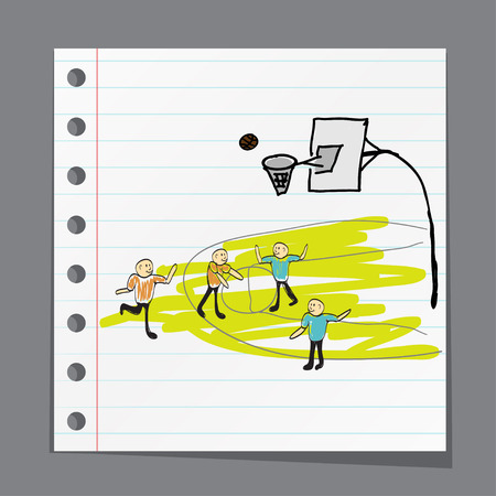 dunking: man playing basketball illustration
