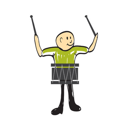new age music: man with a musical instrument drum illustration