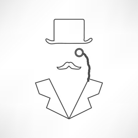 sneak: Man in suit. Secret service agent icon Illustration