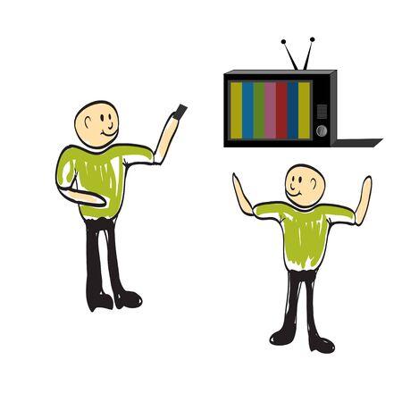watching: man watching TV Illustration