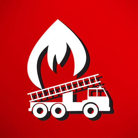 FIRE ENGINE: Vector illustration d'un moteur de feu
