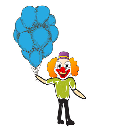 depress: man with balloons happy day rejoices illustration