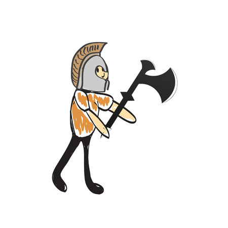 hoplite: knight with a sword and helmet illustration