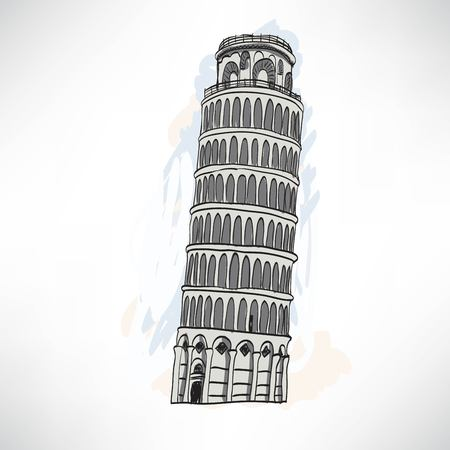 leaning tower: Hand sketch leaning tower of Pisa