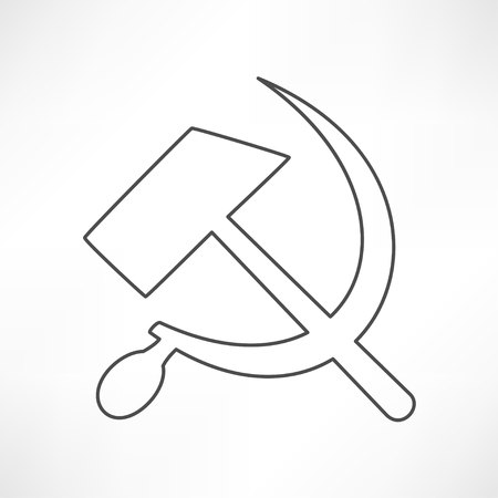 sickle: Communist star with hammer and sickle on white background. Illustration