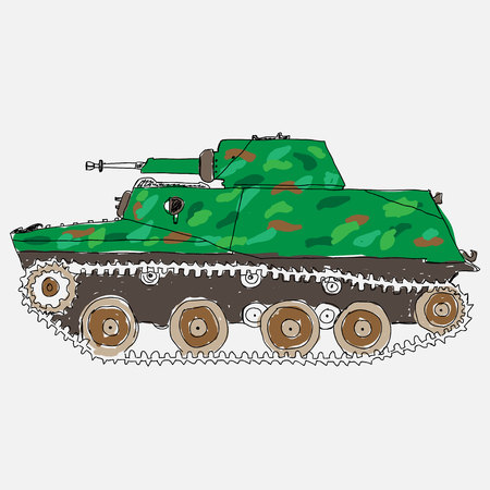 battle: Battle Tank. Doodle style Illustration