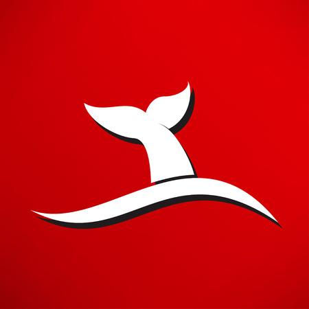 the tail: icono de cola de la ballena Vectores