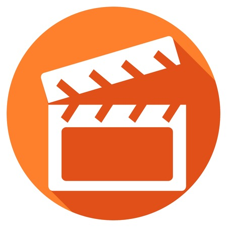 video icons: Modern clapper board icon with long shadow effect Illustration