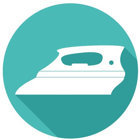 steam iron: Icon Steam iron with a long shadow Illustration