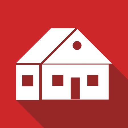 logotipo de construccion: Icono de la casa con una larga sombra Vectores