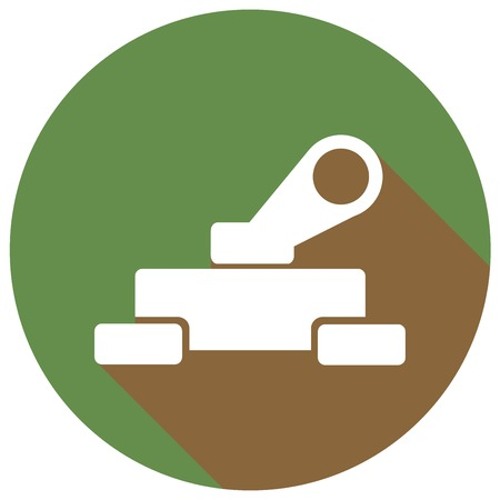 troop: Tank icon with a long shadow Illustration