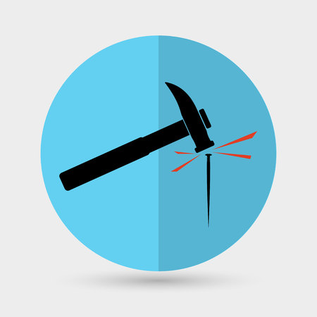 impact tool: Hammer a nail icon